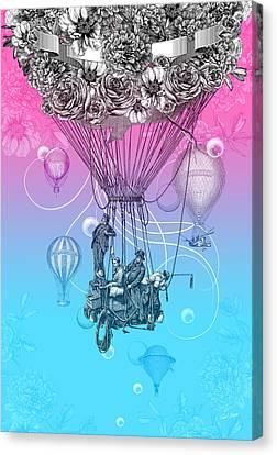 Balloon Flower Canvas Print - Air Travellers by Denys Golemenkov
