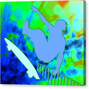 Airborne Skateboarder In Blue And Green Bokkeh  Canvas Print by Elaine Plesser