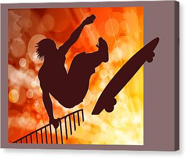 Airborne Skateboarder Silo Red Orange And Yellow Bokkeh Canvas Print by Elaine Plesser