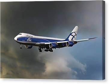 747 Canvas Print - Airbridge Cargo Boeing 747-8hvf by Nichola Denny