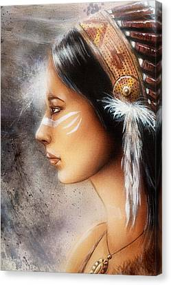 Airbrush Painting Of A Young Indian Woman. Profile Portrait Canvas Print