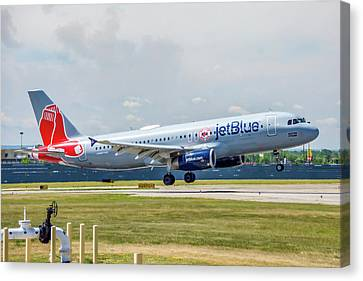 Airbus A320 Boston Strong Canvas Print by Guy Whiteley
