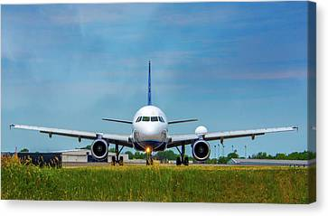 Airbus A320 Canvas Print by Guy Whiteley