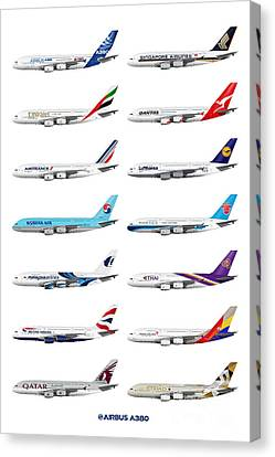Airbus A380 Operators Illustration Canvas Print by Steve H Clark Photography