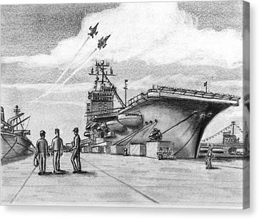Aircraft Carrier Canvas Print by Vic Delnore
