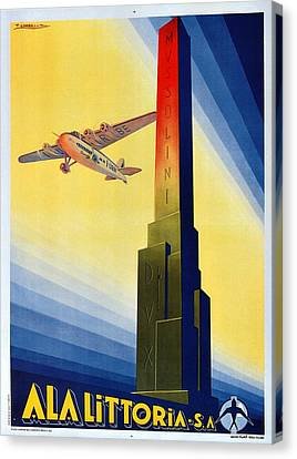 Vintage Airplane Canvas Print - Aircraft Flying Over The Mussolini Dux Obelisk - Ala Littoria - Vintage Travel Poster by Studio Grafiikka