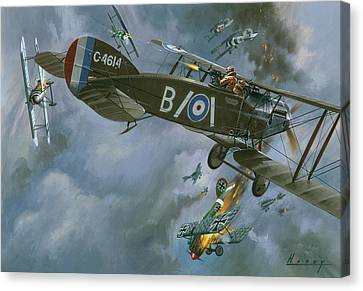 Aircraft In Dogfight Canvas Print by Wilf Hardy