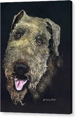 Airedale Terrier Portrait Canvas Print by Jessica Kale