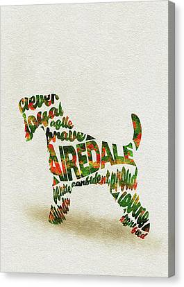 Airedale Terrier Watercolor Painting / Typographic Art Canvas Print
