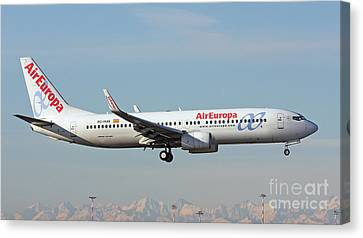 Canvas Print featuring the photograph Aireuropa - Boeing 737-800 - Ec-hjq  by Amos Dor