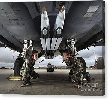 Airmen Check The Gbu-39 Small Diameter Canvas Print by Stocktrek Images