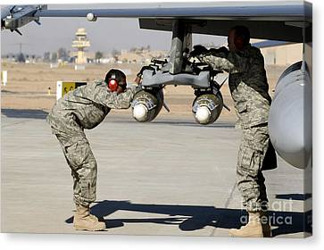 Iraq Canvas Print - Airmen Inspect F-16 Fighting Falcon by Stocktrek Images