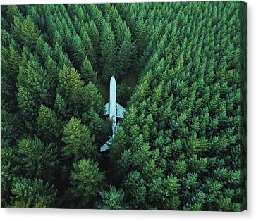 Airplane In Forest Canvas Print