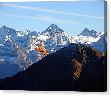 Airplane In Front Of The Alps Canvas Print
