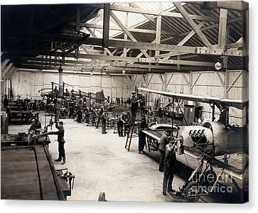 Vintage Airplane Canvas Print - Airplane Manufacturing  by Jon Neidert