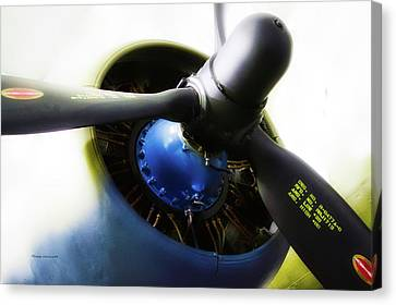 Airplane Military C47a Skytrain Engine Propeller Canvas Print by Thomas Woolworth