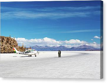 Salt Air Canvas Print - Airplane On Salt Flats by Jess Kraft