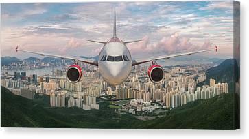 Tsui Canvas Print - Airplane Over Hongkong Island by Anek Suwannaphoom