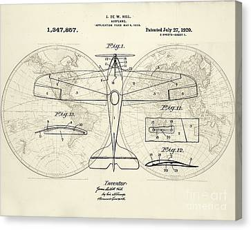 Airplane Patent Collage Canvas Print by Delphimages Photo Creations