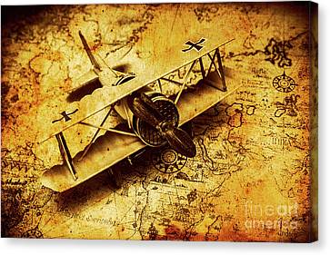 Airplane War Bomber Miniature On Vintage Map Canvas Print by Jorgo Photography - Wall Art Gallery