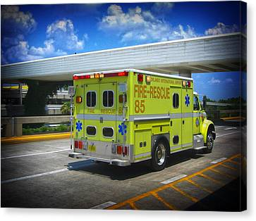 Canvas Print featuring the photograph Airport Ambulance by RKAB Works