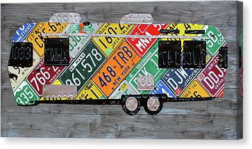 Airstream Camper Trailer Recycled Vintage Road Trip License Plate Art Canvas Print