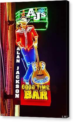 Downtown Nashville Canvas Print - Aj's Good Time Bar by Lisa Wooten
