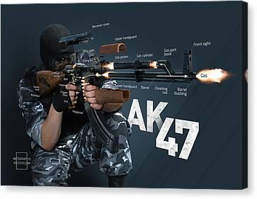 Ak-47 Infographic Canvas Print by Anton Egorov