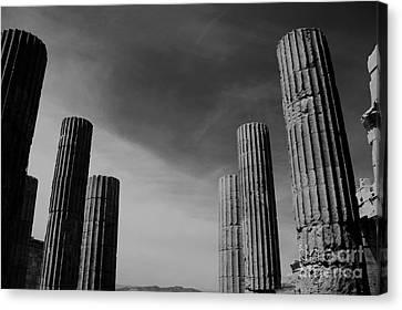 Akropolis Columns Black And White Canvas Print by Marina McLain