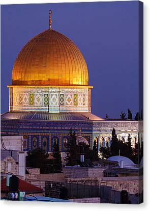 Al-aqsa Mosque At Night Jerusalem Israel Canvas Print by Rostislav Ageev