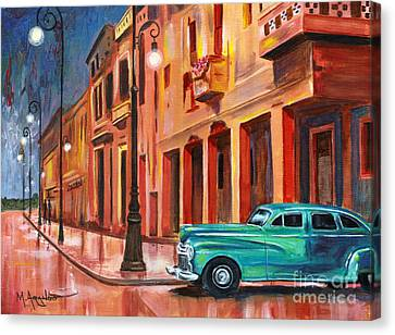 Streetlight Canvas Print - Al Caer La Noche by Maria Arango