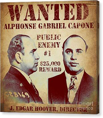 Al Capone Most Wanted Poster Canvas Print by Mindy Sommers