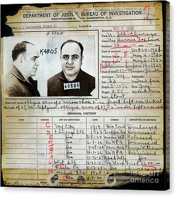 Al Capone Mugshot And Criminal History Canvas Print by Jon Neidert