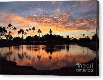 Ala Moana Sunset Canvas Print by DJ Florek