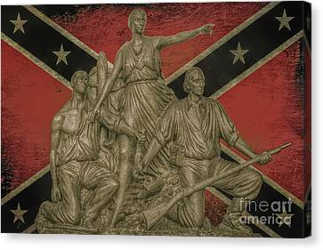 Alabama Monument Confederate Flag Canvas Print by Randy Steele