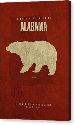 Alabama State Facts Minimalist Movie Poster Art Canvas Print
