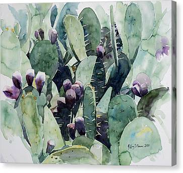 Canvas Print featuring the painting Alamo Prickly Pear by Jeffrey S Perrine