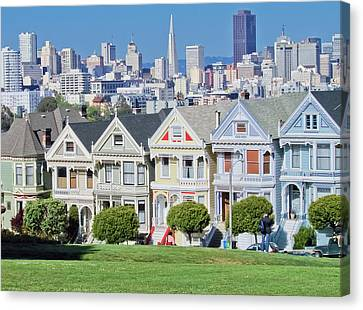 Canvas Print featuring the photograph Alamo Square by Matthew Bamberg