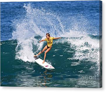 Alana Blanchard Surfing Hawaii Canvas Print by Paul Topp