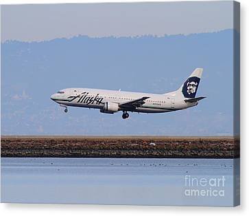Alaska Airlines Jet Airplane At San Francisco International Airport Sfo . 7d12232 Canvas Print by Wingsdomain Art and Photography