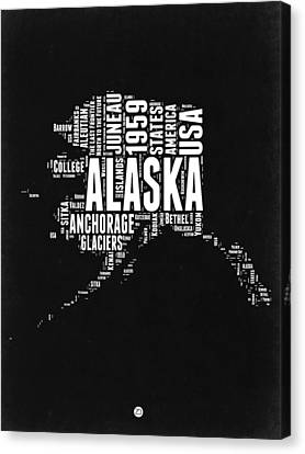 Alaska Black And White Map Canvas Print
