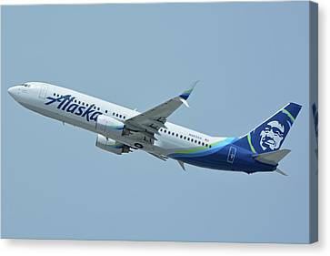 Canvas Print featuring the photograph Alaska Boeing 737-890 N563as Los Angeles International Airport May 3 2016 by Brian Lockett