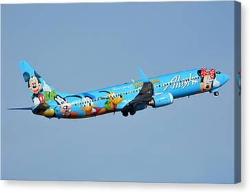 Alaska Boeing 737-990 N318as Disneyland Phoenix Sky Harbor January 19 2016 Canvas Print by Brian Lockett
