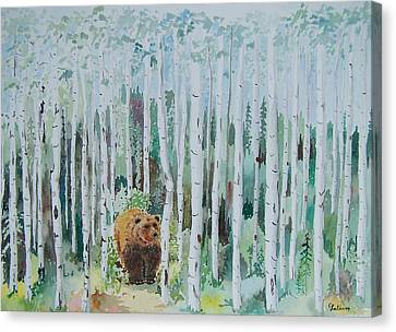 Alaska -  Grizzly In Woods Canvas Print