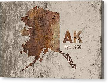 Rust Canvas Print - Alaska State Map Industrial Rusted Metal On Cement Wall With Founding Date Series 018 by Design Turnpike