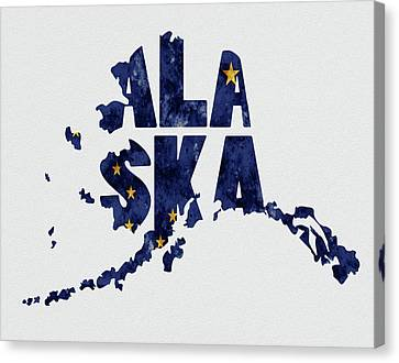Alaska Typography Map Flag Canvas Print by Kevin O'Hare