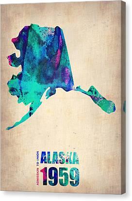 Alaska Watercolor Map Canvas Print