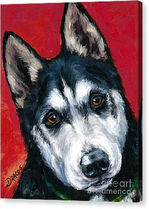 Malamute Canvas Print - Alaskan Malamute Portrait On Red by Dottie Dracos