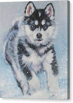 Malamute Canvas Print - alaskan Malamute pup in snow by Lee Ann Shepard