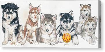 Working Dog Canvas Print - Alaskan Malamute Puppies by Barbara Keith